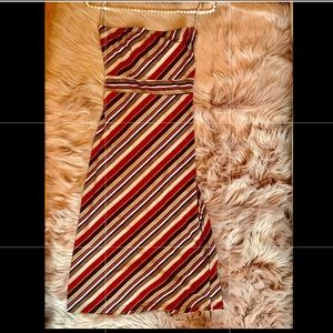 Striped/ Maroon, Brown, Cream Strapless Dress